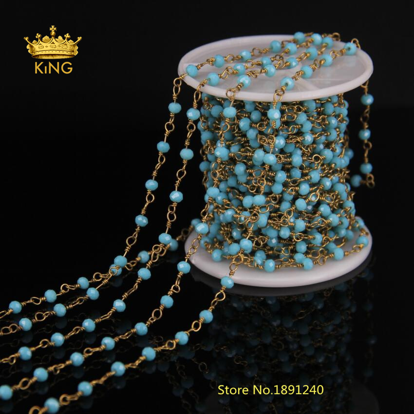 5Meter Tur quoise Blue Natural Glass Faceted Rondelle Bead Rosary Chain,Brass Wire Wrapped Chain DIY Fashion Jewelry Making LS35