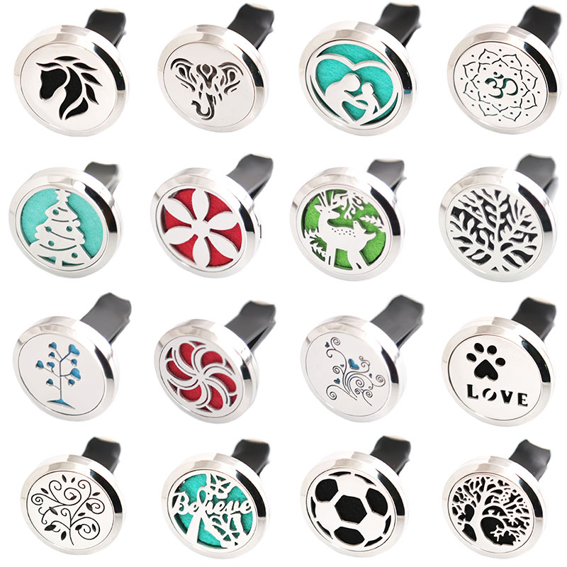 More Than 80 Styles 30mm Diffuser 316 Stainless Steel Car Aroma Locket Essential Oil Car Diffuser Locket Free 10Pcs Pads